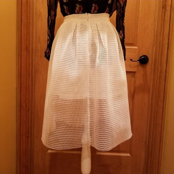 BLVD Dresses & Skirts - BLVD Skirt.  White.  Mesh over underskirt.